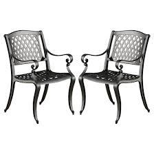 White Aluminum Patio Furniture by Hallandale Set Of 2 Cast Aluminum Patio Chairs Black Sand