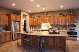 alluring large open kitchen features rectangle shape dark brown