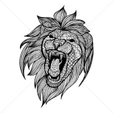 stag head designs intricate lion design vector image 1619596 stockunlimited