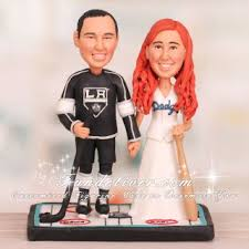 hockey cake toppers and dodgers wedding cake toppers hockey and baseball theme