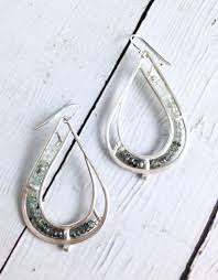 tear drop earrings handmade matte sterling silver teardrop earrings with row of moss