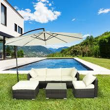 aosom outsunny garden 6 pc rattan sofa sectional set