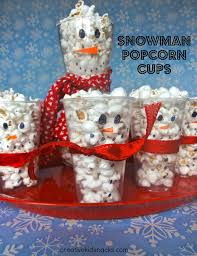 sugar free holiday treats for kids popcorn cups and snowman