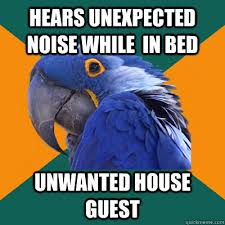 Unwanted Guest Meme - hears unexpected noise while in bed unwanted house guest