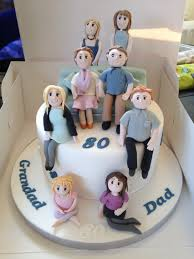 family portrait 80th birthday cake for a special grandad and dad
