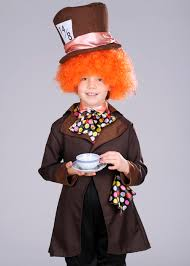 kids brown wonderland mad hatter costume with wig st104 struts