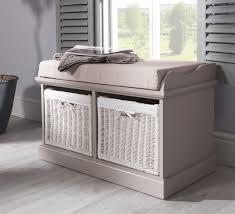 Bench With Storage Baskets by Tetbury Grey Bench With 2 White Storage Baskets