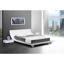 White Platform Bed Frame Contemporary Luxury Furniture Living Room Bedroom La Furniture