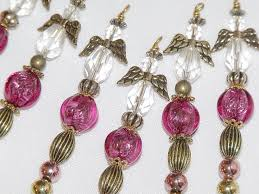 christmas angel ornaments pink and gold bead icicles holiday