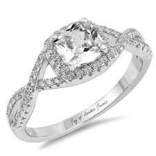 infinity engagement rings 1 8ct cushion cut russian lab diamond halo infinity engagement