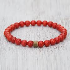 red beads bracelet images Red coral munga beads bracelet jpg