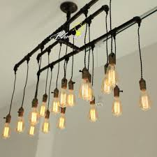 handmade pipe and edison bulbs chandelier 8822