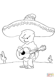 mexican playing guitar coloring page free printable coloring pages