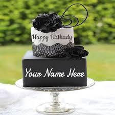 write name on black rose birthday cake for girls wishes