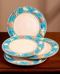 turquoise starfish dinnerware set for a themed kitchen