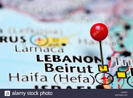 Beirut On Map Beirut Pinned On A Map Of Lebanon Stock Photo Royalty Free Image