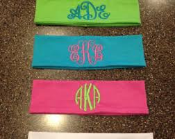 monogram headband sooie stitchespersonalized embroidery by sooiestitches on etsy