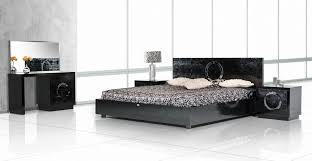 Modern Black Nightstands Ovidius Modern Black Crocodile Bed