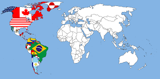 North And South America Map by A World Map Showing All National Flags Rebrn Com