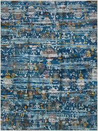 Modern Blue Rugs Rugsville Tribal Ikat Modern Blue Sari Silk Gold Rug 270 X 360