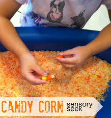 tutus and tea parties halloween sensory play candy corn sensory