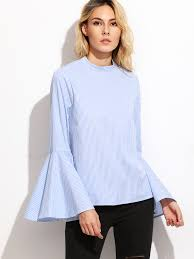 white bell sleeve blouse blue vertical striped keyhole back bell sleeve blouse emmacloth