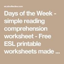days of the week simple reading comprehension worksheet free