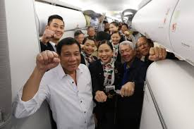 airline cabin crew file president rodrigo duterte poses with his delegation and cabin