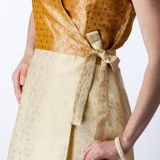 cream brocade and gold silk wrap bridesmaids dress shubrah