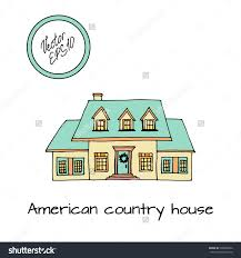 hand drawn sketch of typical american country house with big
