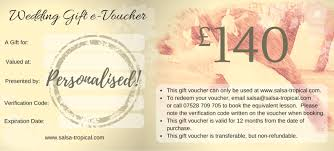 gift cards for wedding get your salsa wedding gift voucher salsatropical the most