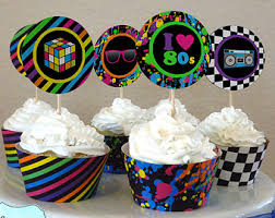 Neon Themed Decorations 80s Cupcake Toppers Etsy