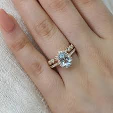 aquamarine wedding rings pear aquamarine ring bridal set in halo diamond milgrain band