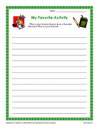 my favorite activity descriptive writing prompt for 3rd and 4th