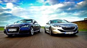 peugeot sports car 2016 audi tt vs peugeot rcz fifth gear youtube