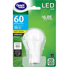 Gu24 Led Light Bulb Great Value Led Dimmable A19 Gu24 10w 60w Equivalent Soft