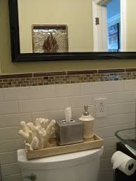 gray wall paint mirror with black wooden frame white ceramic