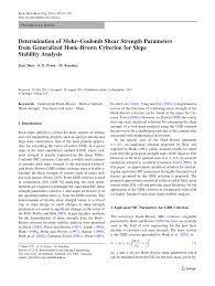 determination of mohr u2013coulomb shear strength parameters from