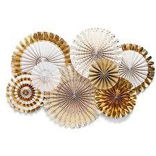 paper fans decorations gold foil paper fan party decorations the knot shop