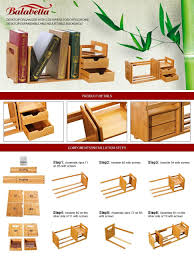 bamboo expandable desk organiser with 2 drawers for office and