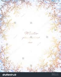 snowflake golden decorative frame beautiful cold stock photo