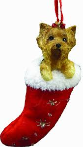amazon com yorkie christmas stocking ornament hand painted and