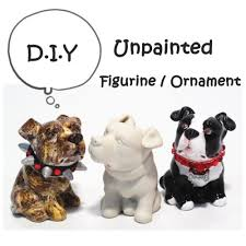 3 pcs unpainted american pit bull terrier lover figurine