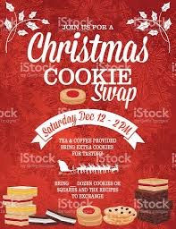 christmas cookie exchange party invitation template stock vector