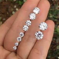 womens stud earrings genuine 925 sterling silver cubic zirconia stud earrings for
