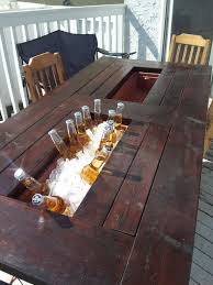 Patio Table Beer Cooler Diy Patio Table With Built In Beer Wine Coolers Home Design Ideas