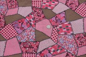 pink patchwork print vintage cotton quilting fabric cheater quilt