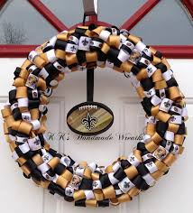 saints ribbon new orleans saints ribbon wreath by kkshandmadewreaths on etsy