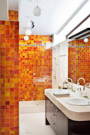 Orange Accent Wall by Bathroom Yellow Orange Mosaic Bathroom Wall Idea Splashy