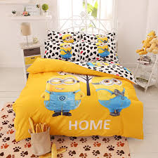 cartoon bedding set 4pcs printing cama minions bedclothes duvet